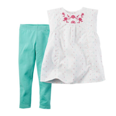 jcpenney.com | Carter's® Embroidered Yoke Top and Jeggings Set - Baby Girls newborn-24m