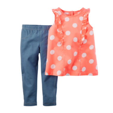 jcpenney.com | Carter's® Flutter-Sleeve Top and Jeggings Set - Baby Girls newborn-24m