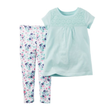 jcpenney.com | Carter's® Short-Sleeve Lace-Yoke Top and Leggings Set - Toddler Girls 2t-5t