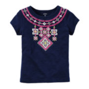 Carter's® Short-Sleeve Navy Embroidered Tee - Preschool Girls 4-6x