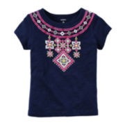 Carter's® Short-Sleeve Embroidered Neckline Tee - Toddler Girls 2t-5t