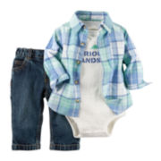 Carter's® 3-pc. Long-Sleeve Plaid Shirt and Pants Set - Baby Boys newborn-24m