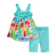 Youngland® 2-pc. Teal Popsicle Dress and Shorts Set - Toddler Girls 2t-4t