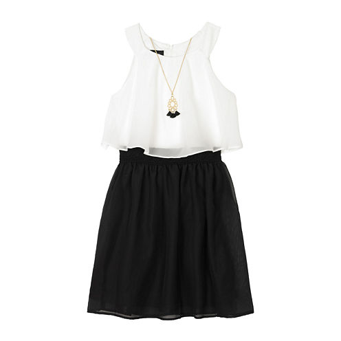 by&by Girl Chiffon Popover Dress with Necklace - Girls 7-16 and Plus