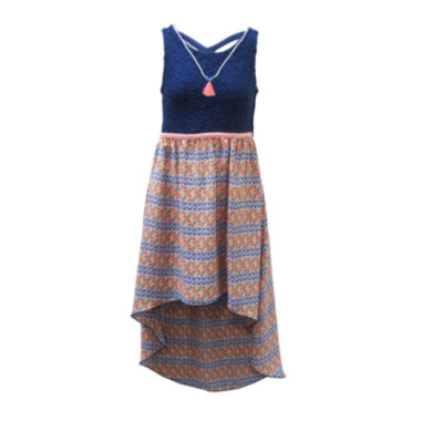 jcpenney.com | Lilt Sleeveless Aztec High-Low Sundress and Tassel Necklace - Girls 7-16