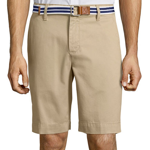 U.S. Polo Assn.® Belted Twill Flat-Front Shorts