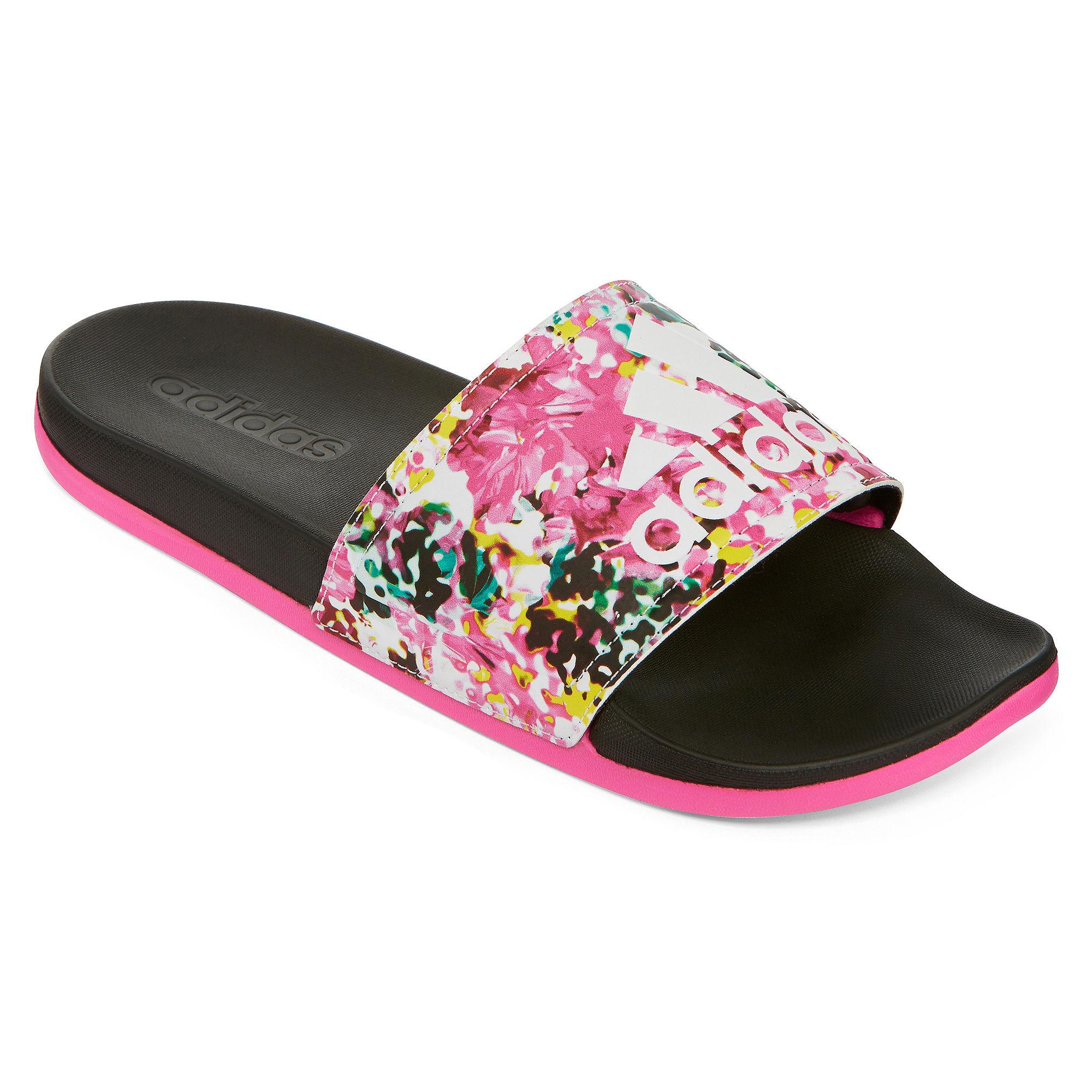 Excellent Adidas Adilette W 3-Stripes Black White Womens Sandals Slides Slippers 072329 | EBay