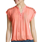 Almost Famous Short-Sleeve Lace-Up Knit Blouse