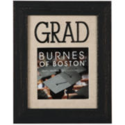 """GRAD"" Distressed Wood 4X4"" Burlap Picture Frame"