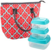 Fit & Fresh® Cumberland Lunch Box Kit - pink aqua dot tile