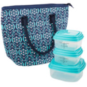Fit & Fresh® Cumberland Lunch Box Kit - Navy Floret Tile
