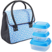 Fit & Fresh® Madrid Lunch Box Kit - Cornflower Geo Grid