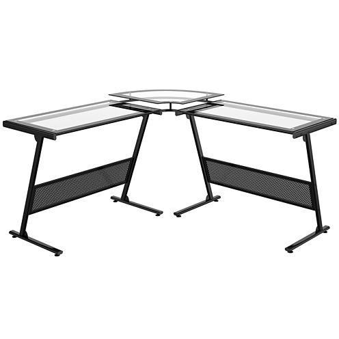 """Delano """"L"""" Glass Computer Desk"""