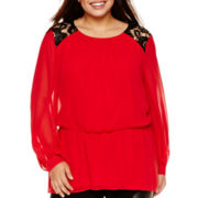 Bisou Bisou® Long-Sleeve Lace-Shoulder Peplum Top - Plus