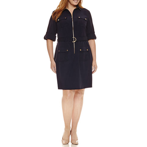 Sharagano 3/4 Sleeve Zip Front Belted Shirt Dress-Plus