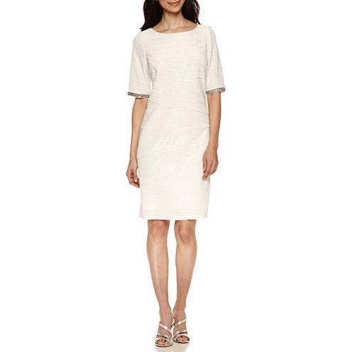 Scarlett Elbow Sleeve Embellished Sheath Dress