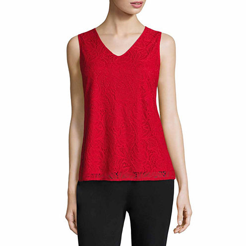 Liz Claiborne Sleeveless V Neck T-Shirt-Womens Talls
