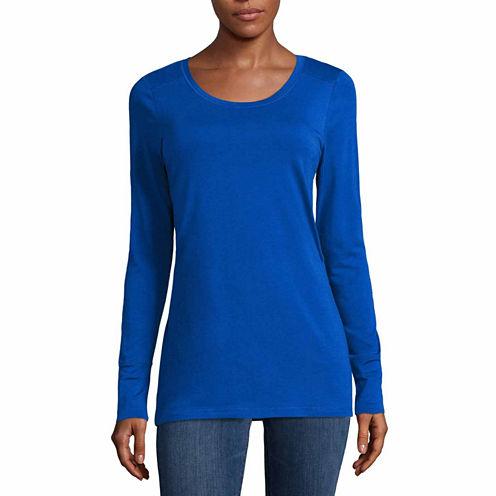 a.n.a Long Sleeve Scoop Neck T-Shirt-Womens Talls