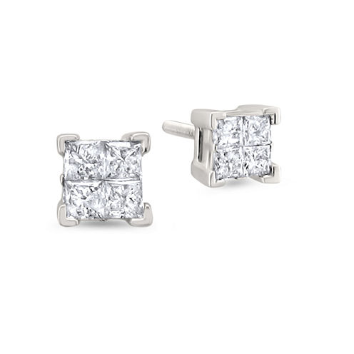 1 CT. T.W. Princess White Diamond 14K Gold Stud Earrings