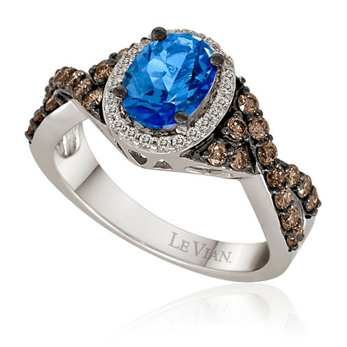 LIMITED QUANTITIES  LeVian Grand Sample Sale Chocolatier® Lab-Created Blue Topaz and Diamond Ring