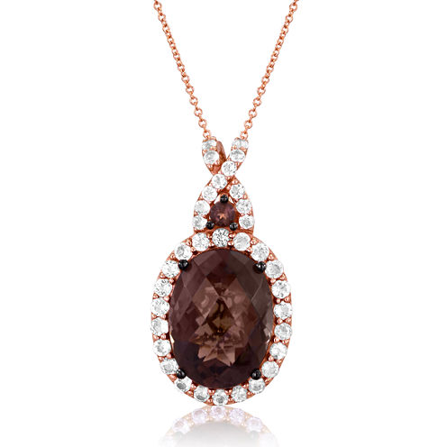 LIMITED QUANTITIES  Le Vian Grand Sample Sale Genuine Brown Quartz and White Topaz Pendant Necklace