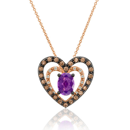 LIMITED QUANTITIES  Le Vian Grand Sample Sale Chocolatier Genuine Amethyst and Chocolate Diamond Necklace