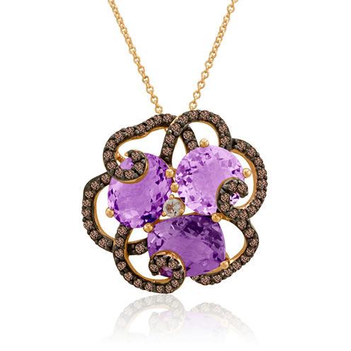 LIMITED QUANTITIES  Le Vian® Grand Sample Sale Genuine Amethyst and Chocolate Quartz Flower Necklace