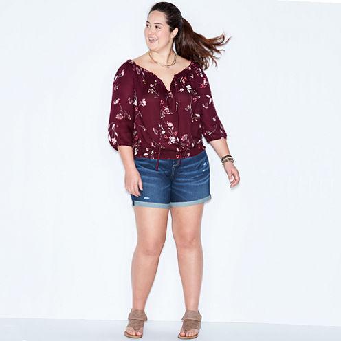 Arizona Long Sleeve Crepe Pattern Blouse-Juniors Plus