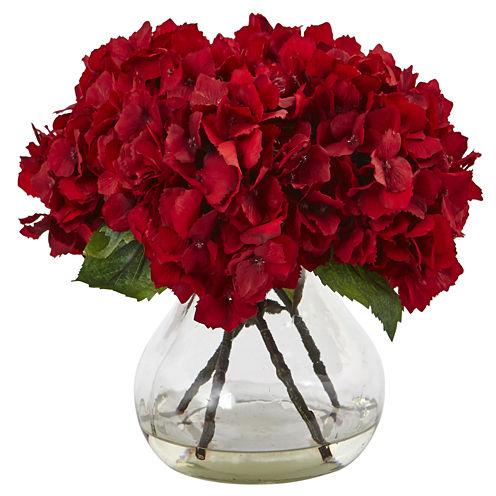 """8.5"""" Hydrangea Silk Floral Arrangement"""