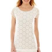 Liz Claiborne® Cap-Sleeve Lace-Front T-Shirt