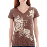 St. John's Bay® Embellished Floral Graphic T-Shirt