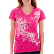 St. John's Bay® Short-Sleeve Embellished Floral Graphic T-Shirt