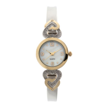 jcpenney.com | Geneva Womens Two-Tone Heart Accent Bangle Watch