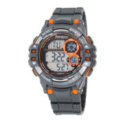 Armitron® Mens Gray and Orange Digital Strap Watch