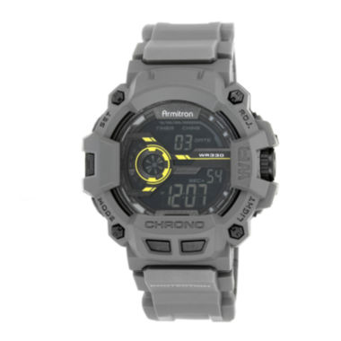 jcpenney.com | Armitron® Mens Gray and Yellow Accent Chronograph Digital Sport Watch