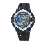 Armitron® Mens Black and Blue Accent Chronograph Digital Sport Watch