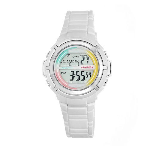 Armitron® Womens White and Rainbow Accent Digital Sport Watch