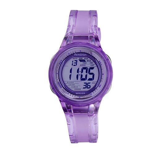 Armitron® Womens Purple Jelly Digital Sport Watch