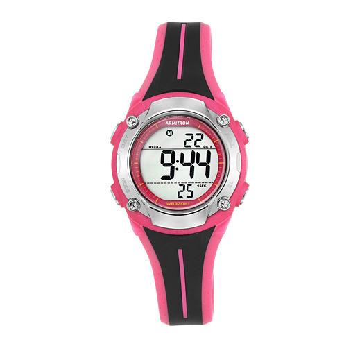 Armitron® Womens Black and Pink Digital Chronograph Sport Watch
