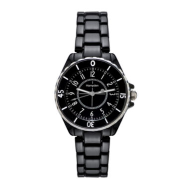 jcpenney.com | Hampden  Womens Black Silver-Tone Personalized Bracelet Watch
