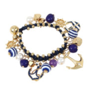 Bleu™ Blue Gold-Tone Nautical Charm Bracelet