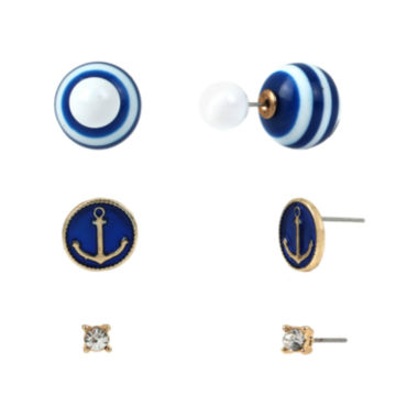 jcpenney.com | Bleu™ 3-pr. Blue Nautical Earring Set