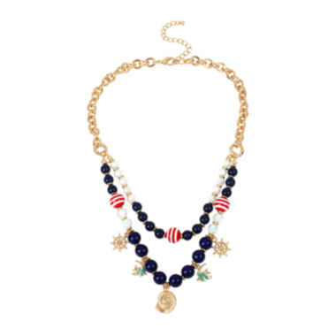 jcpenney.com | Bleu™ Nautical Navy Gold-Tone Bead Layered Necklace