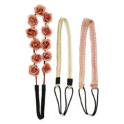 Carole 3-pc. Pink Suede Headband Set