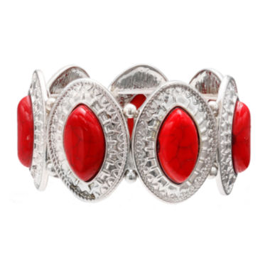 jcpenney.com | Mixit™ Red Silver-Tone Etched Oval Stretch Bracelet