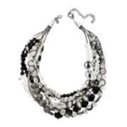 Aris by Treska Black Silver-Tone Seven Strand Beaded Necklace