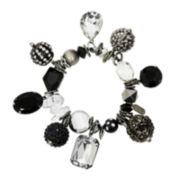 Aris by Treska Black Silver-Tone Trinket Stretch Bracelet