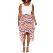 Bisou Bisou® Sleeveless Handkerchief Fit-and-Flare Dress - Plus