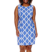 Alyx® Sleeveless Diamond Grid Sheath Dress - Plus