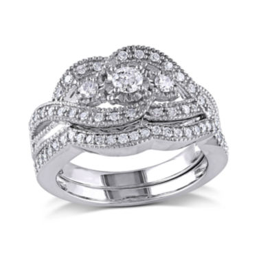 jcpenney.com | 1/2 CT. T.W. Diamond Sterling Silver 3-Stone Bridal Ring Set